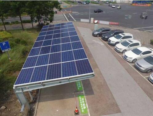"""上海首个""""太阳能充电桩"""" 亮相江湾五角场"""